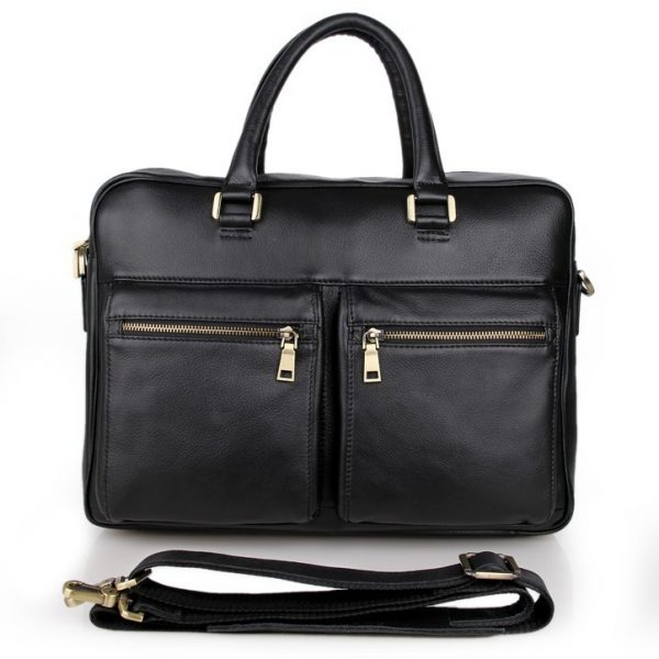 Real Cowhide Leather Mens Black Business Leather Briefcases Laptop Bag