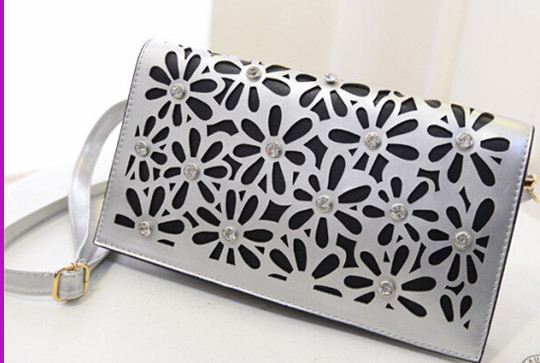 Stylish Long Strap PU Shoulder Hollow Lady Clutch Bag