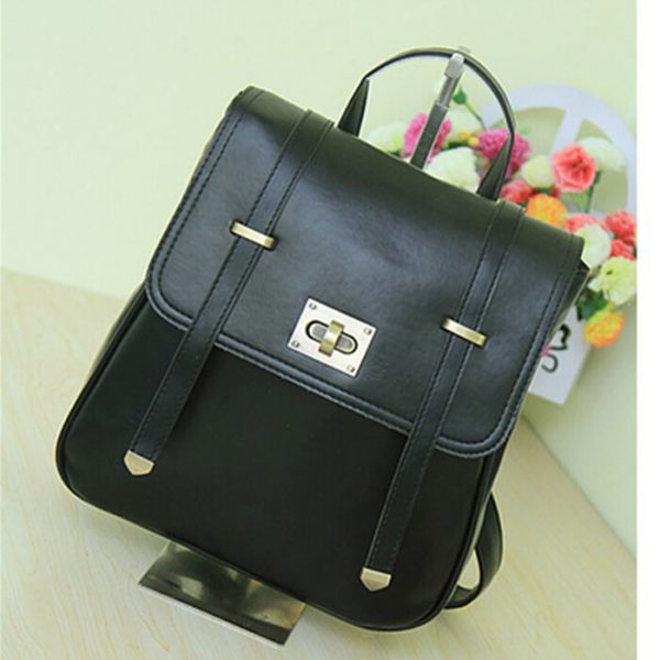 leather high quality retro backpack pu vintage backpack girls for college