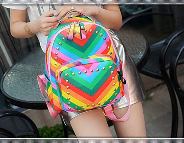 colorful rainbow backpack summer beach bag for college teens