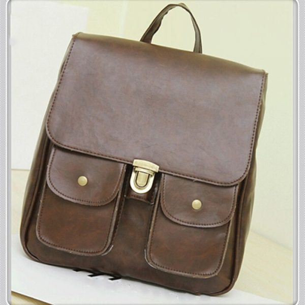 pure retro brown pu leather school backpack artificial vintage backpack girls