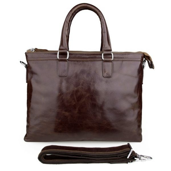 Soft Men Briefcase Top Grain Leather Bag