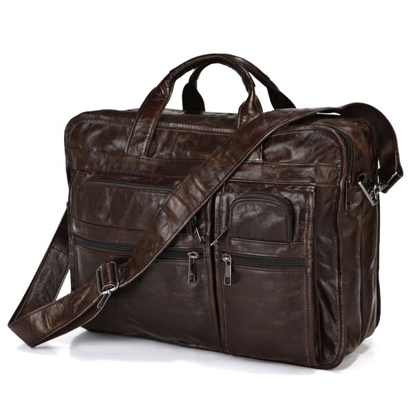 Vintage Leather Chocolate Briefcase