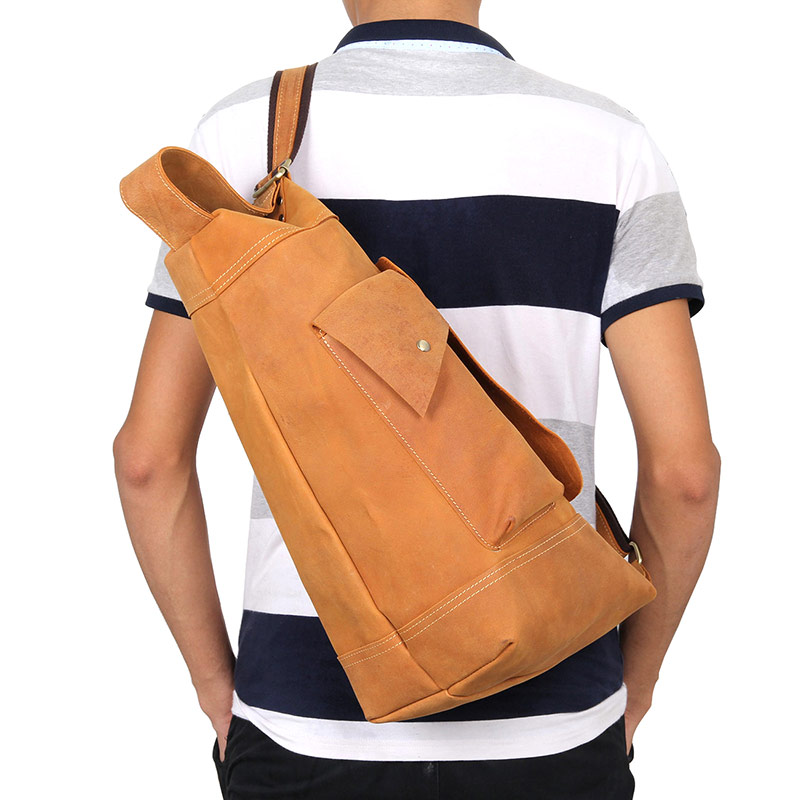leather funny bags chest messenger bag