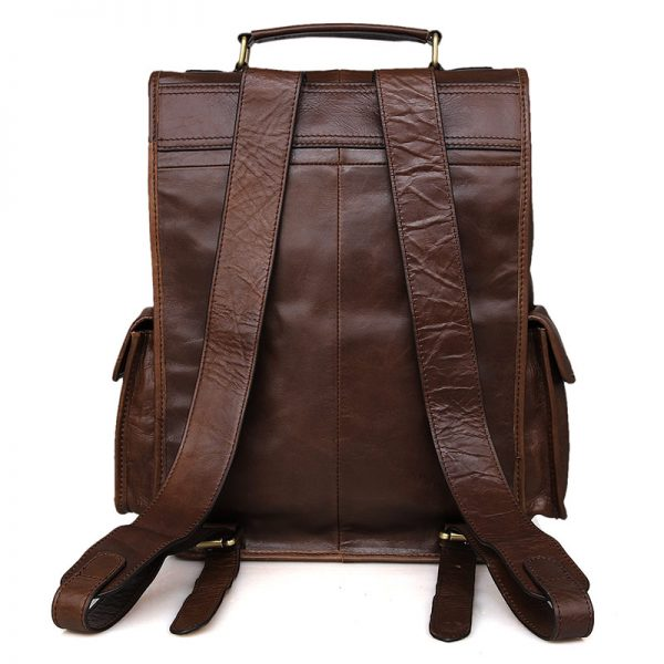leather brown backpack